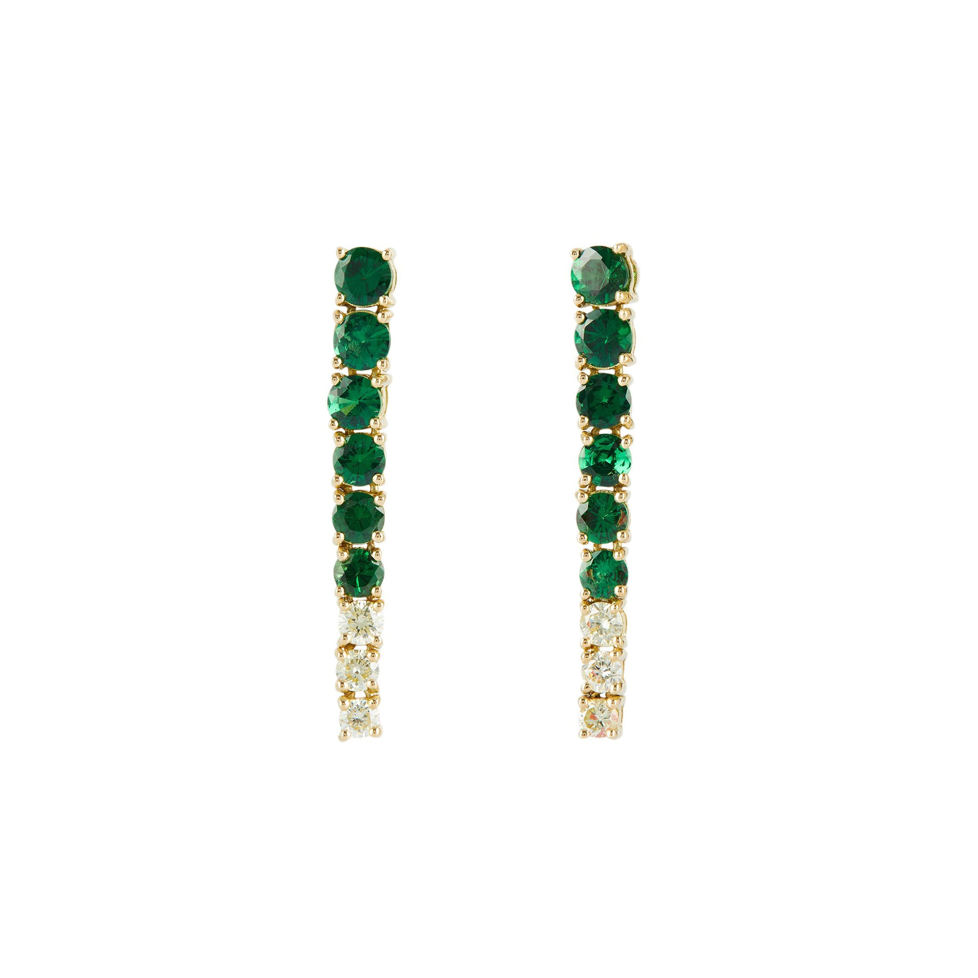 Tsavorite and Canary Diamond Dream Links Earrings by Yi Collection for Broken English Jewelry