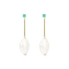 Baroque Pearl & Emerald Earrings by Yi Collection for Broken English Jewelry