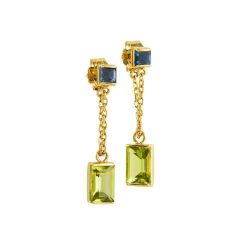 Sapphire & Peridot Chain Earrings by Yi Collection for Broken English Jewelry