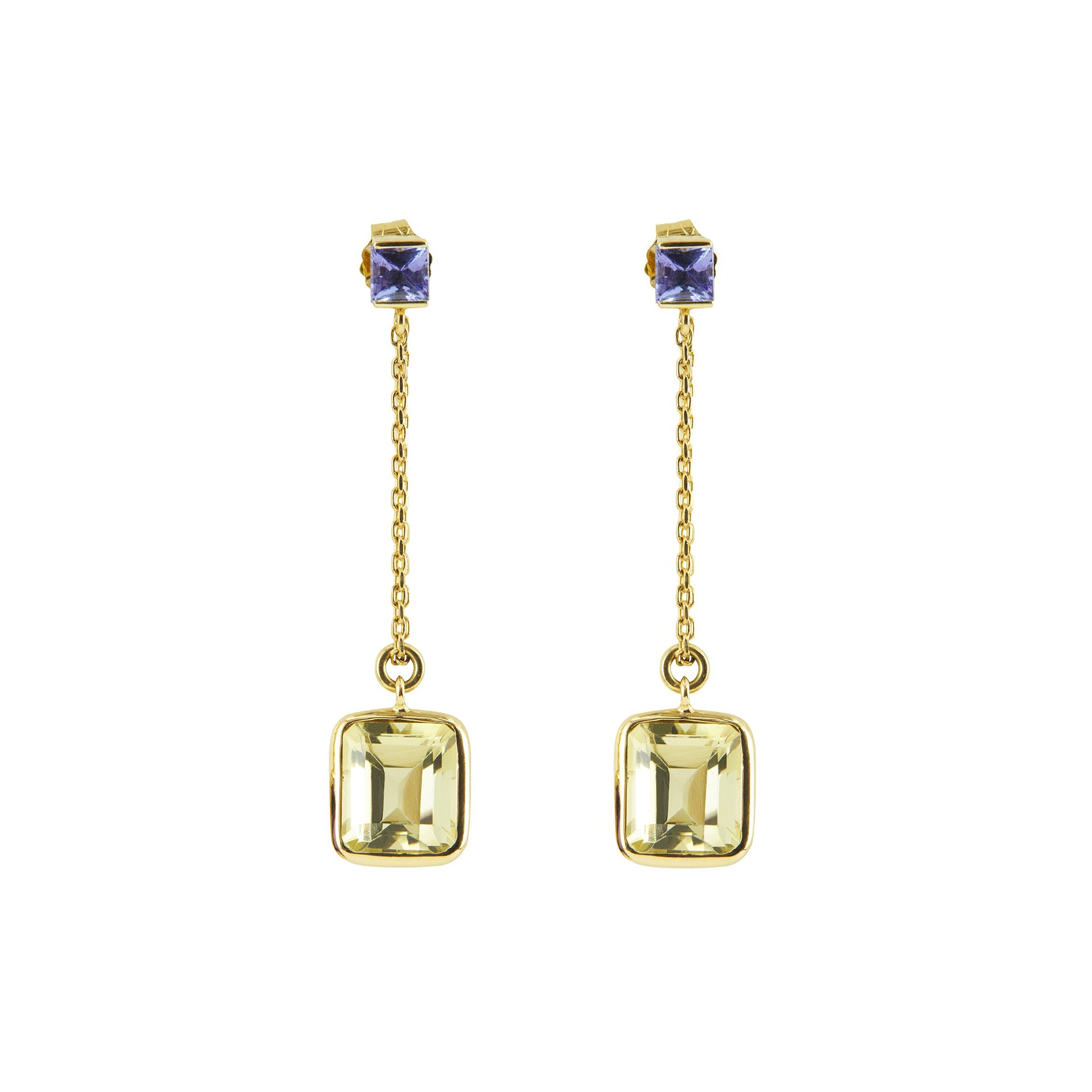 Tanzanite & Quartz Earrings by Yi Collection for Broken English Jewelry