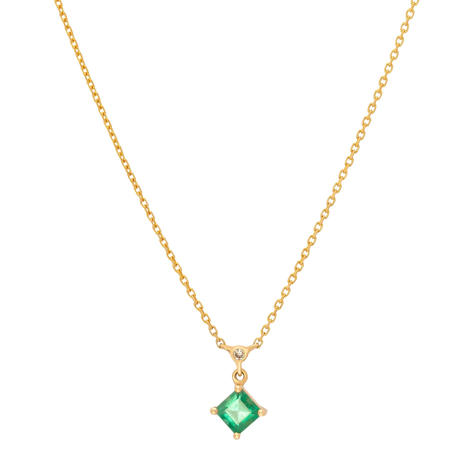 YI Collection Emerald & Diamond Whispers Necklace - Necklaces - Broken English Jewelry