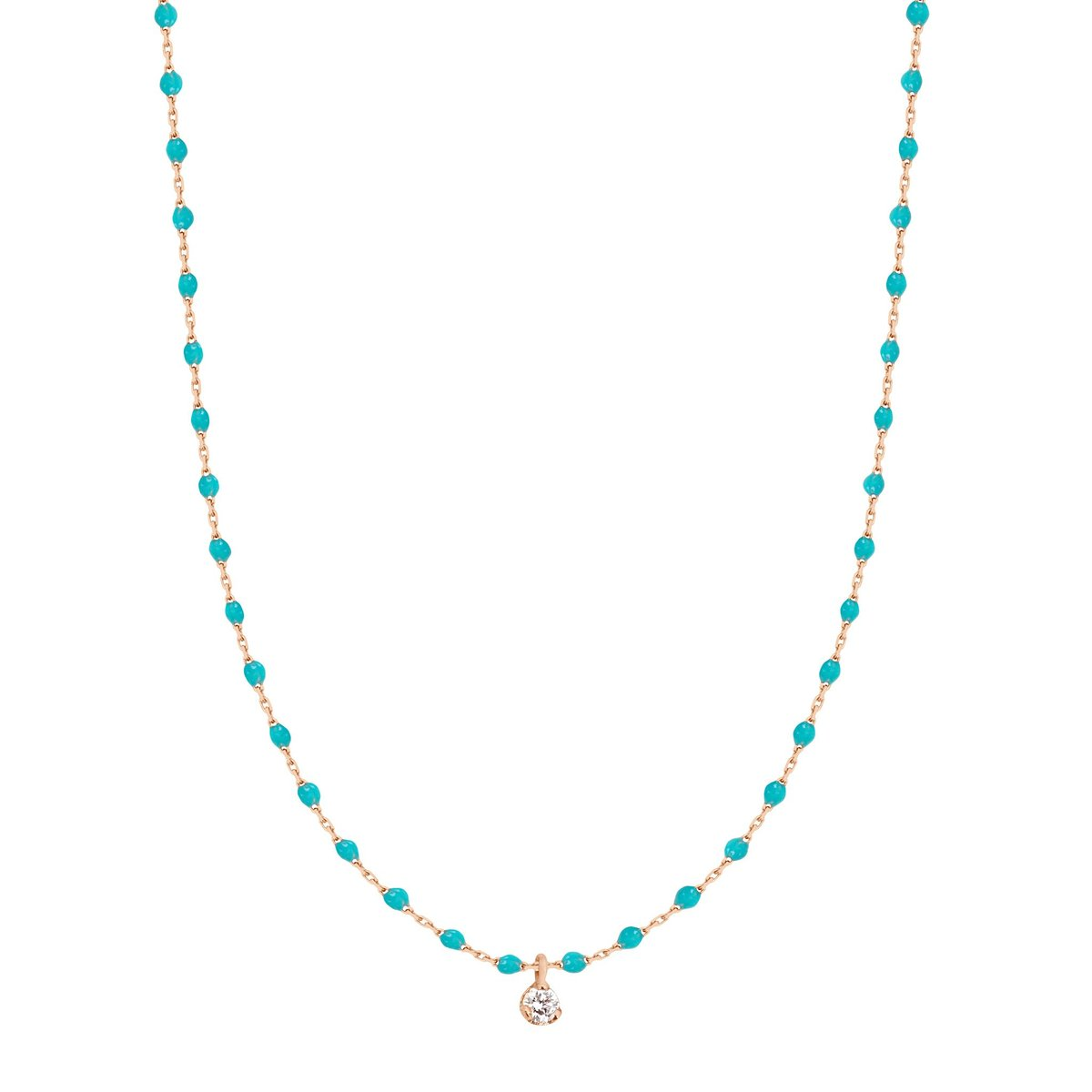 Gigi Clozeau Mini 1 Diamond Necklace - Turquoise Green - Necklaces - Broken English Jewelry