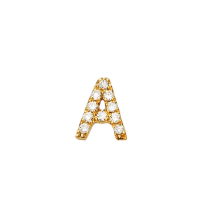 "Diamond Letter ""A"" Stud Earring"