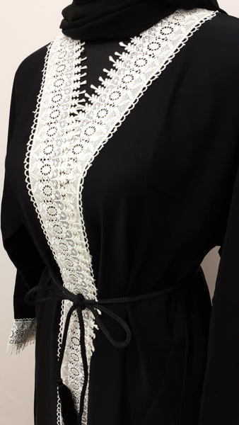 Black with White Lace Abaya - Chaddors