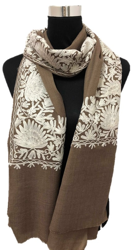 Pure Pashmina D.Beige Aari Embroidered Scarf - Chaddors
