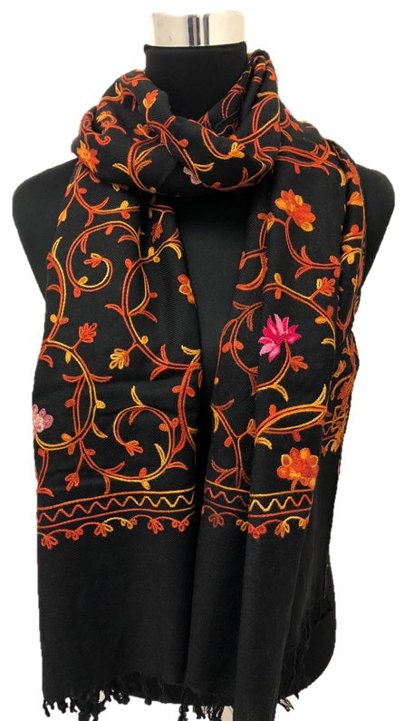 Black Embroidered Pashmina - Chaddors