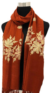 Rust Embroidered Pashmina - Chaddors