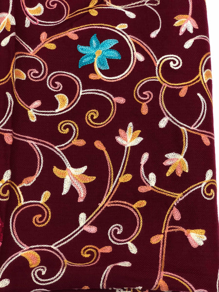 Maroon Embroidered Pashmina - Chaddors