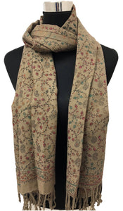 Coffee Embroidered Pashmina - Chaddors