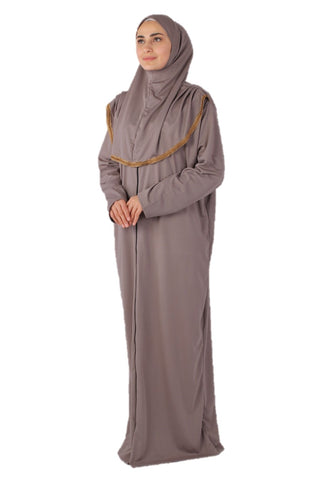 Gray Zipper Turkish Prayer Dress