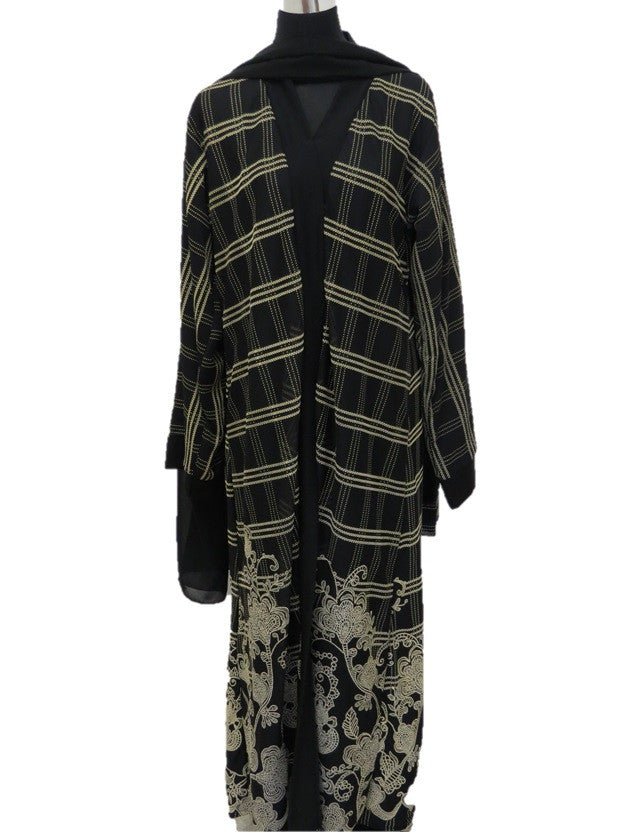 Black and Beige Printed Abaya - Chaddors
