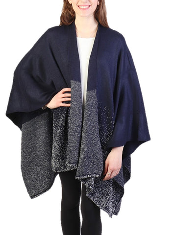 Navy Glittery Lurex Cape