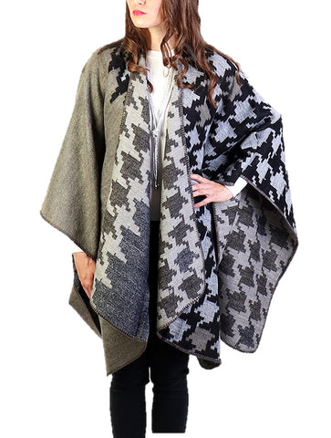 Gray Houndstooth Pattern Cape