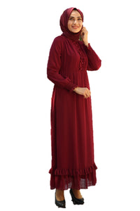 Zinnia Maroon Turkish Dress