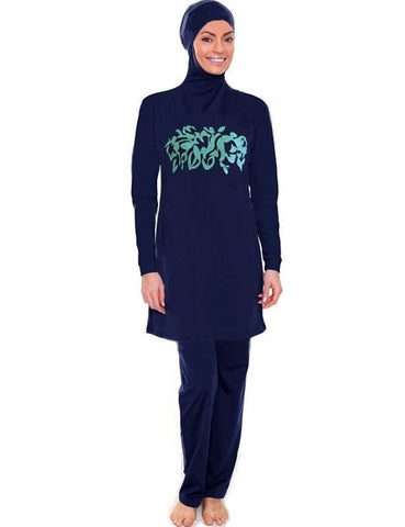 Navy with Turquoise Design Burkini - Chaddors