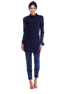 Navy Fish Design Burkini - Chaddors