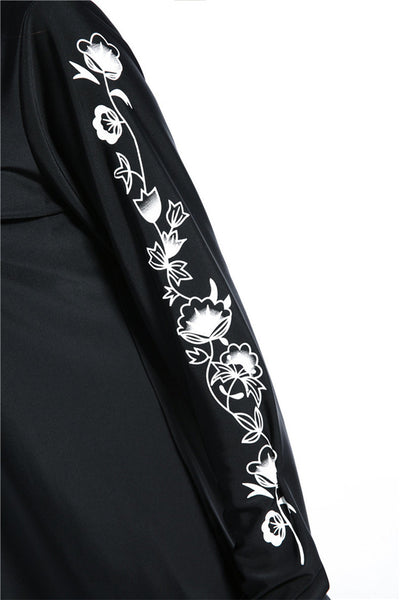 Black Burkini With White Design on Sleeves - Chaddors