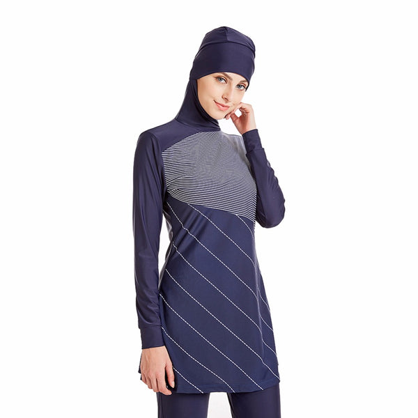 Navy White Burkini - Chaddors