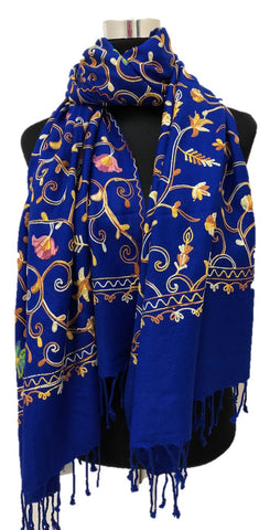 Royal Blue Embroidered Pashmina - Chaddors