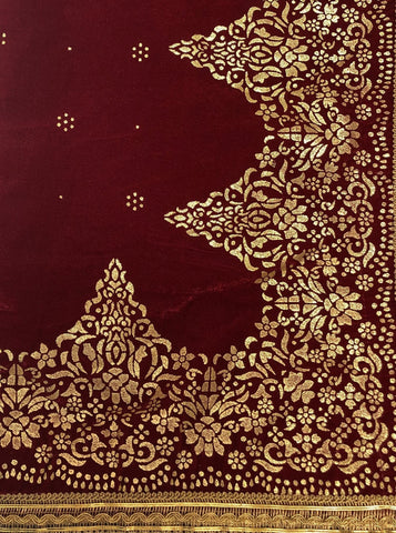 Red Gold Block Print Velvet Chaddor