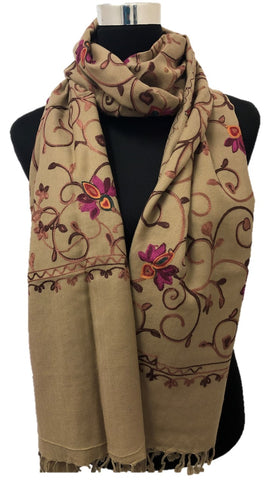 Medium Beige Embroidered Pashmina - Chaddors