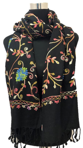 Black Embroidered Pashmina