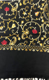 Black Multi Embroidered Scarf
