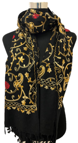Black Multi Embroidered Scarf - Chaddors