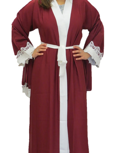 Maroon with White Lace Abaya - Chaddors