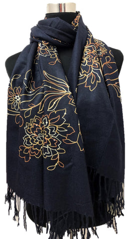 Navy Sequence and Embroidery Pashmina