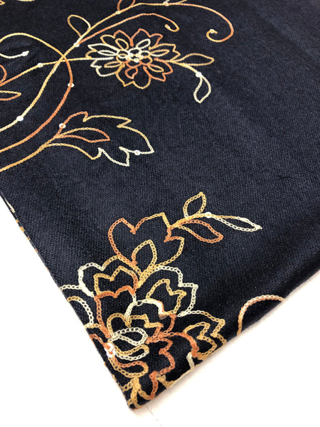 Navy Sequence and Embroidery Pashmina - Chaddors