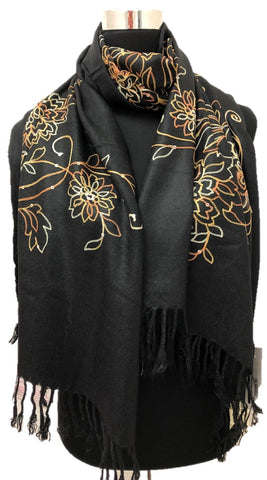 Black Sequence and Embroidery Pashmina - Chaddors