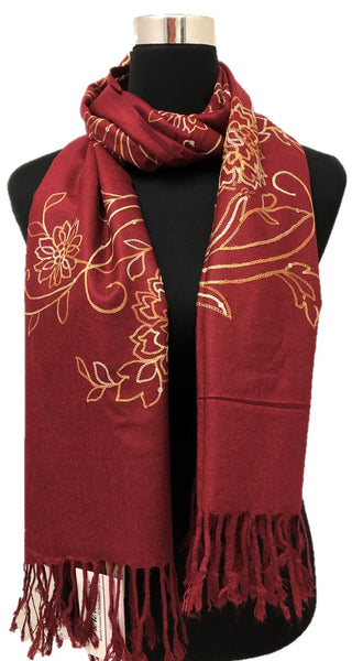 Maroon Sequence and Embroidery Pashmina - Chaddors