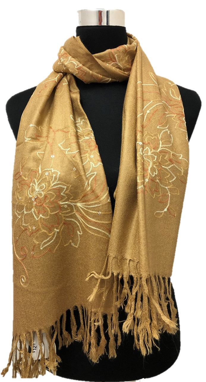 Gold Sequence and Embroidery Pashmina - Chaddors