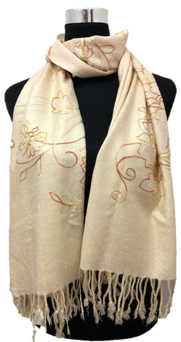 Beige Sequence and Embroidery Pashmina