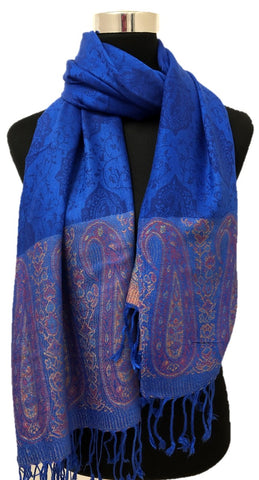 Royal Blue Border Pashmina - Chaddors