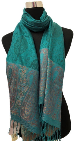 Sea Green Border Pashmina