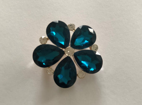 Teal Flower Brooch - Chaddors