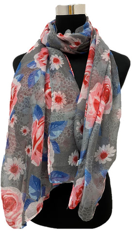 Gray/Pink Flowers Viscose Printed - Chaddors