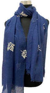 Maple Leaves Embroidered Hijab + - Chaddors