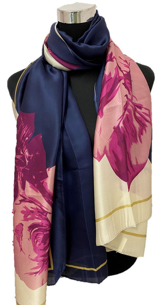 Navy & Purple Silk Scarf