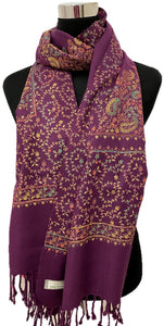 Purple Embroidered Pashmina