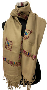 Tan Embroidered Pashmina