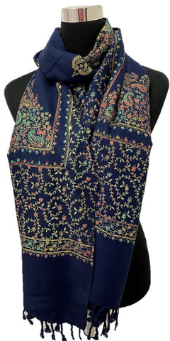 Navy Embroidered Pashmina