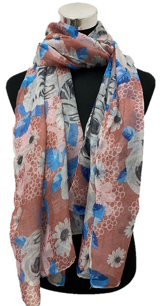 Peach Pink Printed Viscose