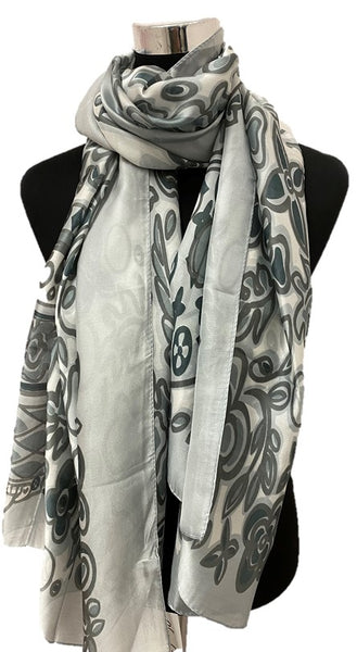 Gray Silk Scarf