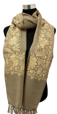 Pure Pashmina Tan Aari Embroidered Scarf