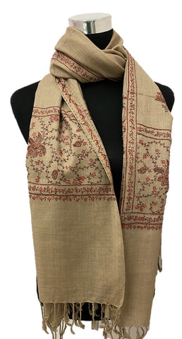 Pure Pashmina Khakhi Embroidered Scarf