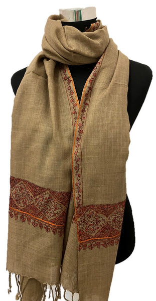 Pure Pashmina Wheat Embroidered Scarf
