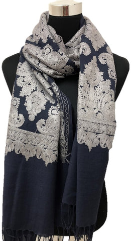 Pure Pashmina Navy Aari Embroidered Scarf - Chaddors